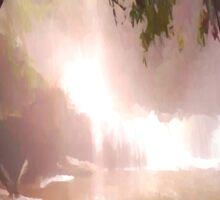 landscape waterfall lake river Sticker