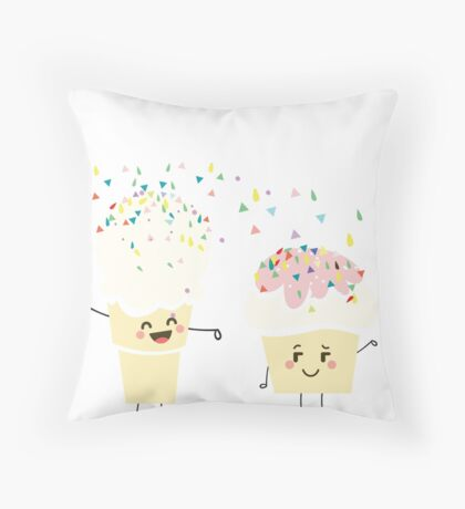 It's Sprinkling Out There Funny Kawaii Emoji Emoticon Ice Cream Cone Cupcake Graphic Tee Shirt Throw Pillow
