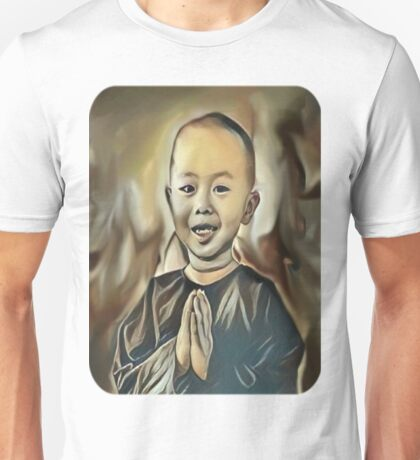 My Creative Design of a Young Buddhist Praying Unisex T-Shirt