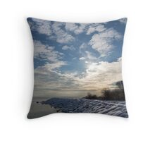 Brilliant Sunshine After the Snowstorm – a Winter Beach on Lake Ontario Throw Pillow
