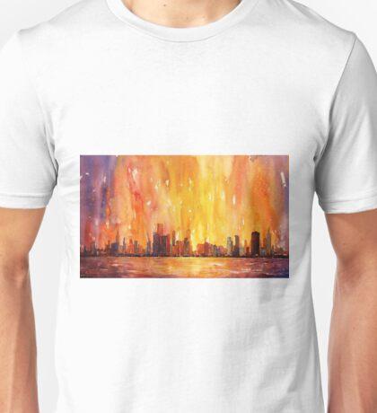 Sunrise- Chicago, IL watercolor painting Unisex T-Shirt