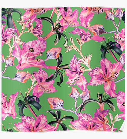 Green and Pink Tropical Floral by Grand Reverie Poster