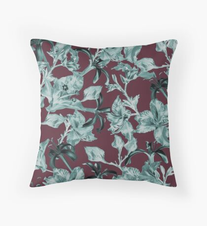 Purple and Teal Tropical Floral by Grand Reverie Throw Pillow