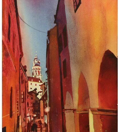 Castle in Cesky Krumlov- watercolor painting Sticker