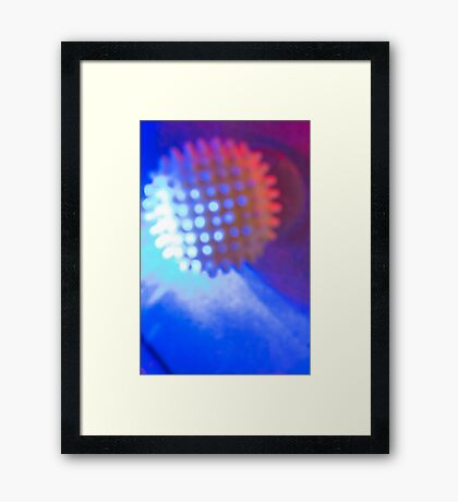 Spiked Orb in Red and Blue Space Framed Print
