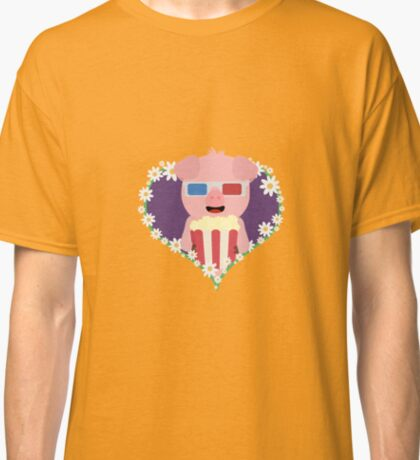 Cinema Pig with flower heart Classic T-Shirt
