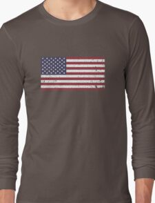 Vintage Look Stars and Stripes American Flag Long Sleeve T-Shirt