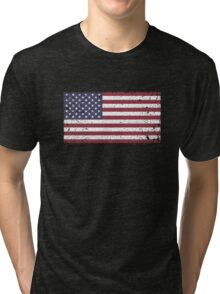 Vintage Look Stars and Stripes American Flag Tri-blend T-Shirt
