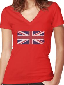 Vintage look Union Jack Flag of Great Britain Women's Fitted V-Neck T-Shirt