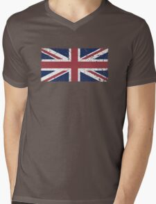 Vintage look Union Jack Flag of Great Britain Mens V-Neck T-Shirt