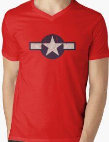 Vintage Look USAAF Roundel Graphic Mens V-Neck T-Shirt