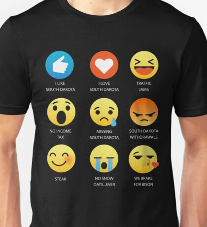I Love South Dakota Fifty Nifty United States Emoji Emoticon Graphic Tee Shirt Unisex T-Shirt
