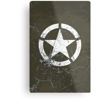Vintage Look US Army White Star Emblem Metal Print