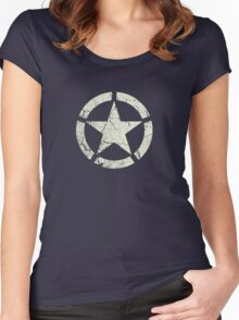 Vintage Look US Army White Star Emblem Women's Fitted Scoop T-Shirt
