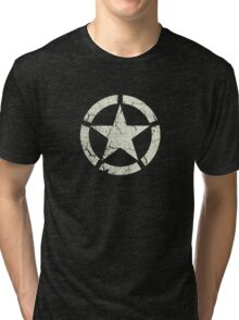 Vintage Look US Army White Star Emblem Tri-blend T-Shirt