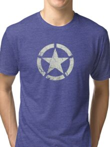 Vintage Look US Army White Star Emblem Tri-blend T-Shirt