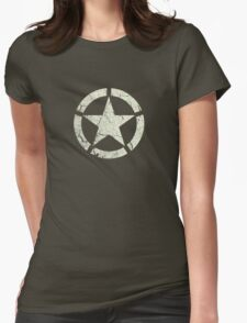 Vintage Look US Army White Star Emblem Womens Fitted T-Shirt