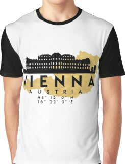 VIENNA AUSTRIA SILHOUETTE SKYLINE MAP ART Graphic T-Shirt
