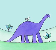 Purple Diplodocus Dinosaur by zoel