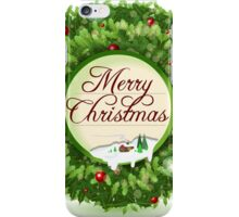 Christmas Holly with Snowy Landscape iPhone Case/Skin