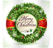 Christmas Holly with Snowy Landscape Poster