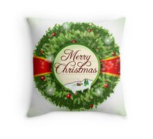Christmas Holly with Snowy Landscape Throw Pillow