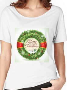 Christmas Holly with Snowy Landscape Women's Relaxed Fit T-Shirt