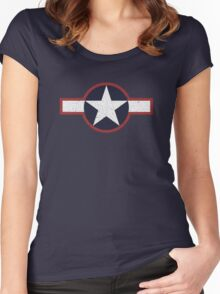 Vintage Look US Forces Roundel 1943 Women's Fitted Scoop T-Shirt