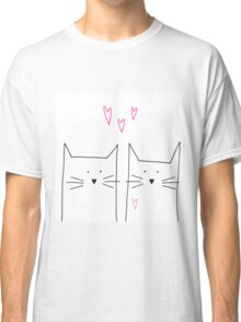 cat and cat and pink Classic T-Shirt