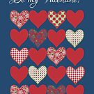 Be my Valentine Greeting Card, Hearts and Roses by Judy Adamson