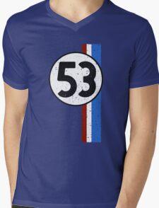 Vintage Look 53 Car Race Number Graphic Mens V-Neck T-Shirt
