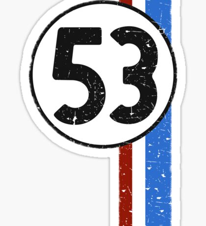 Vintage Look 53 Car Race Number Graphic Sticker