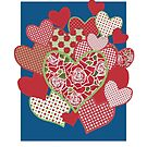 Valentine's Card, Hearts and Roses by Judy Adamson