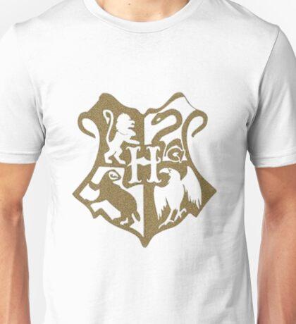 Hogwarts Logo in Gold Unisex T-Shirt