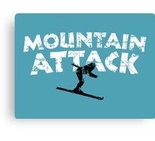 Mountain Attack Winter Sports Ski Design (B&W) Canvas Print