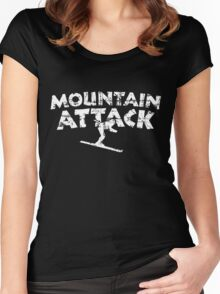 Mountain Attack Winter Sports Ski Design (White) Women's Fitted Scoop T-Shirt