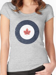 Vintage Look WW2 Royal Canadian Air Force Roundel Women's Fitted Scoop T-Shirt