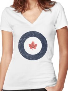 Vintage Look WW2 Royal Canadian Air Force Roundel Women's Fitted V-Neck T-Shirt