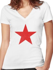 Vintage Look Russian Red Star Women's Fitted V-Neck T-Shirt