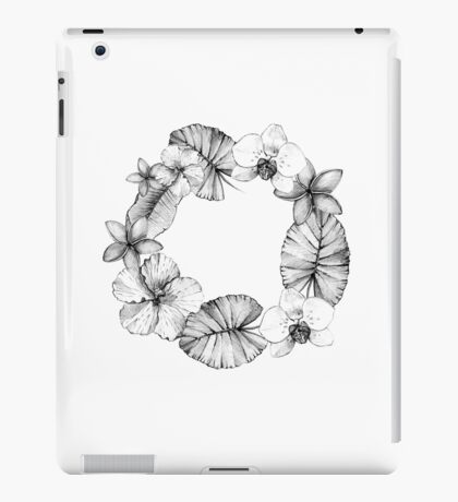 Vintage wreath with tropical plants and flowers. iPad Case/Skin