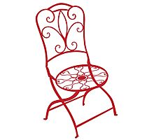 BISTRO FOLDING CHAIR - red Photographic Print