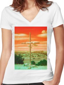 Blessed Path (Orange Sky) Women's Fitted V-Neck T-Shirt