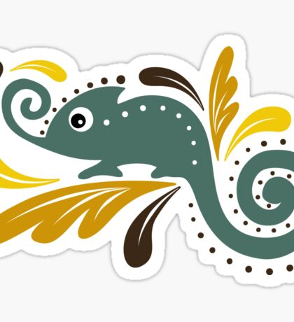a stylized image of a chameleon, sitting on a branch in the leaves Sticker