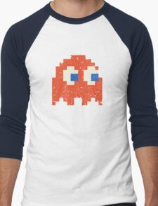 Vintage Look Arcade Pixel Ghost Man  Men's Baseball ¾ T-Shirt