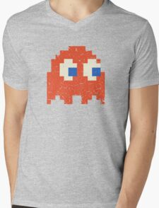Vintage Look Arcade Pixel Ghost Man  Mens V-Neck T-Shirt