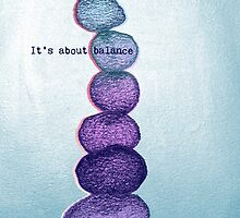 It's About Balance - purple & mint ombre sketch illustration by Perrin Le Feuvre