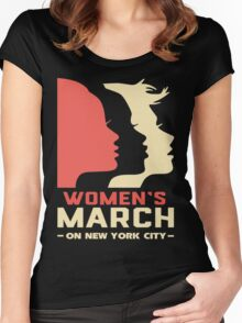 Women March On New York City T Shirt Women's Fitted Scoop T-Shirt