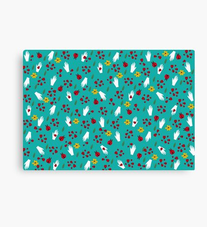 Lady Birds and hands pattern Canvas Print