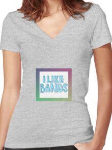 I Like Bands - Multicolor Women's Fitted V-Neck T-Shirt