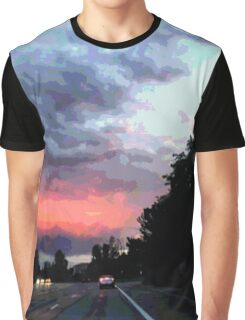 Sunset Cartoon Graphic T-Shirt